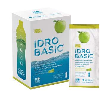 IDROBASIC by Biohealth España - Complemento alimenticio de minerales alcalinizantes endulzados con estevia, sabor a manzana - Paquete de 15 sobres