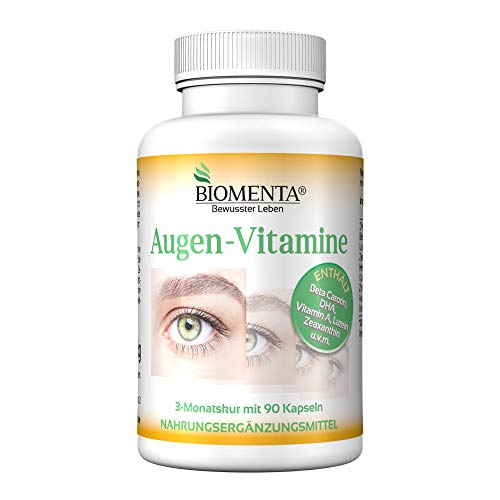 Bioma de VITAMINA OJO |  con betacaroteno, luteína, zeaxantina, DHA (Omega-3), vitaminas A, B2, C y zinc |  90 cápsulas oculares |  Tratamiento de 3 meses