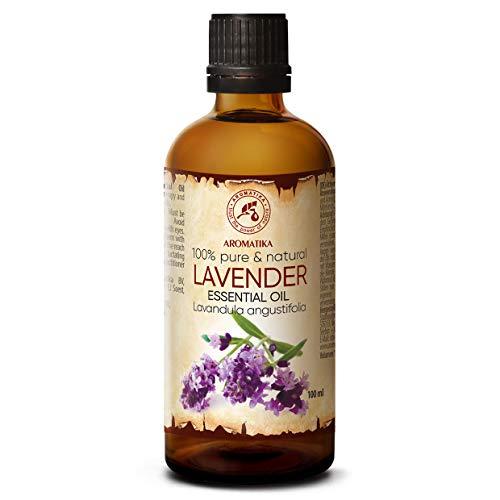 Aceite esencial de lavanda 100 ml - Lavandula Angustifolia - 100% pura y natural - Aromaterapia - Contra la ansiedad - Insomnio y estrés - para insectos y mosquitos - Masajes ...