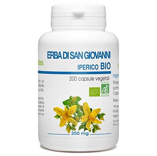 Hierba de San Juan orgánica - Hypericum perforatum - 250mg - 200 cápsulas vegetarianas