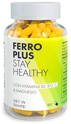 Hierro Plus - 180 cápsulas de suplemento de hierro con vitamina B12, vitamina C y magnesio de Get in Shape
