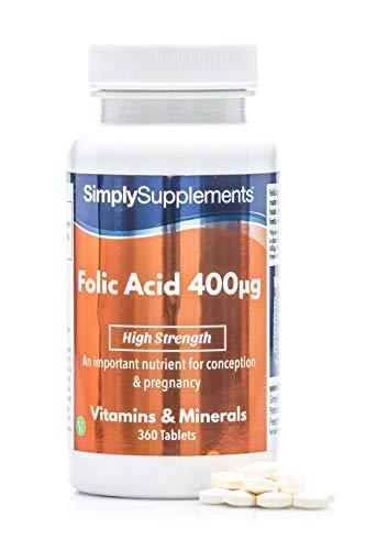 Ácido fólico 400 mcg - 360 comprimidos - Apto para veganos - 1 año de tratamiento - SimplySupplements