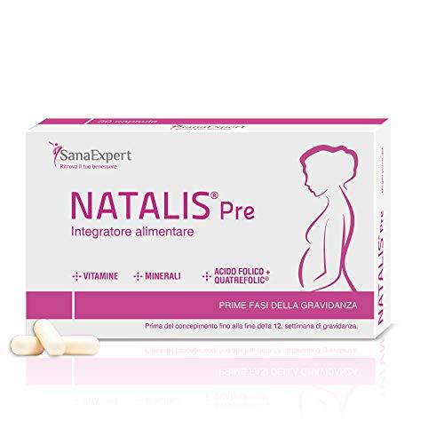 SanaExpert Natalis Pre |  INTEGRADOR DE FERTILIDAD Y EMBARAZO con ácido fólico, Quatrefòlic, hierro y vitaminas (30 cápsulas).  Ingredientes 100% veganos ...