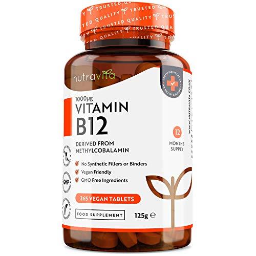 Vitamina B12 1,000 mcg - Comprimidos de metilcobalamina B12-365 de alta dosis vegana (suministro de un año) - Vitamina B12 vegana para el sistema inmunitario, concentración, ...