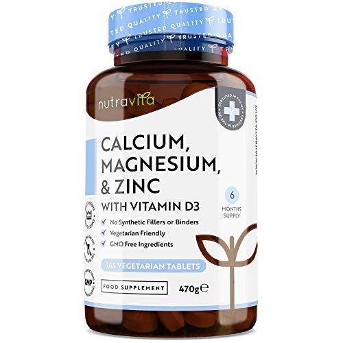 Calcio, magnesio, zinc y vitamina D3 - 365 comprimidos vegetarianos - Suplemento de calcio con dosis elevadas - Suministro de suplementos óseos durante 6 meses - ...