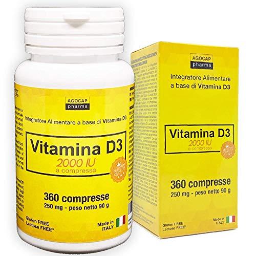 VITAMINA D3 a dosis elevadas |  vitamina de 2.000 UI por comprimido |  360 COMPRIMIDOS, suministro para 1 año |  VITAMINA D |  MADE IN ITALY |  Vitamina d |  Suplementos de vitamina D, ...