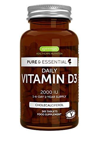Vitamina D3 pura y esencial diaria de 2000 UI, suministro durante 1 año, vegetariana, 365 comprimidos