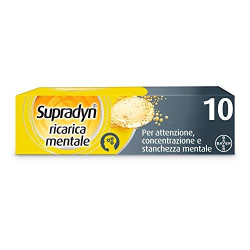 Suplemento alimenticio multivitamínico de recarga mental Supradyn, cafeína y guaraná para atención y concentración, 10 comprimidos efervescentes