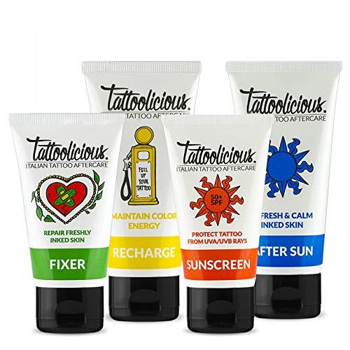 Tattoolicious COMBINACIÓN COMPLETA - FIJADOR 75 ml + RECARGA 100 ml + Sunscreen 50+ SPF 75 ml + DESPUÉS DEL SOL 100 ml