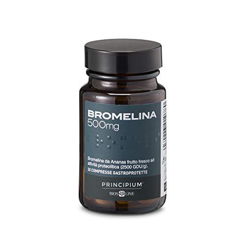 BIOS LINE principium Bromelain 500 mg, suplemento alimenticio con extracto de piña que favorece la microcirculación, suplemento drenante contra la celulitis, 30 ...
