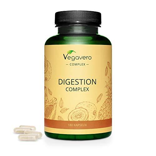 SUPLEMENTO DE DIGESTIÓN Vegavero® |  Con enzimas digestivas |  Inflamación y flatulencia |  Con papaína, bromelina, kiwi, comino y cardamomo |  180 cápsulas |  vegano