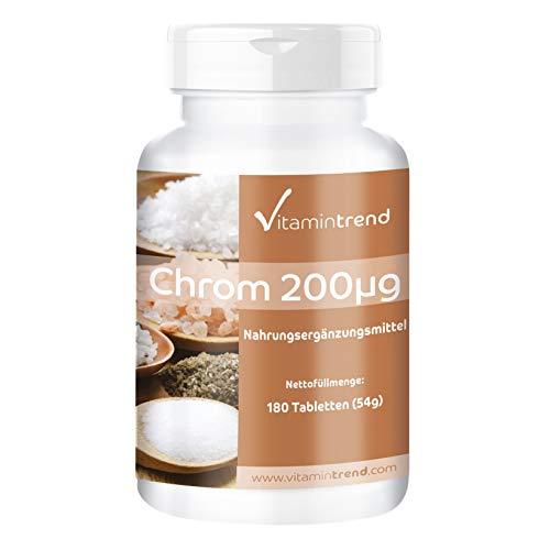 Picolinato de cromo 200 mcg - 180 comprimidos - Durante 6 meses - Vegano