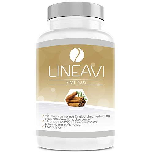 LINEAVI Cinnamon Plus, 400 mg de canela, 7 mg de zinc, 100 mg de cromo al día, nivel de azúcar en la sangre, metabolismo, pérdida de peso, piel, cabello, hecho a ...