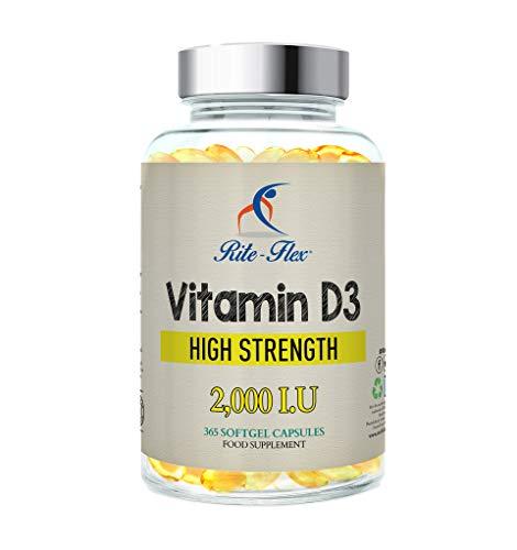 Rite-Flex, suplemento de vitamina D3 2000 UI (365 cápsulas de gel blando)