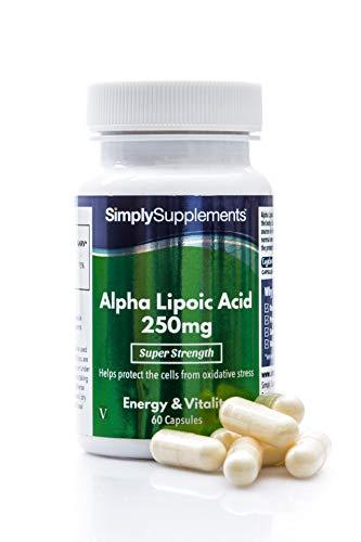 Ácido alfa lipoico 250 mg - 60 cápsulas - Apto para veganos - 2 meses de tratamiento - SimplySupplements