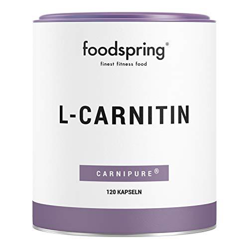 foodpring L-Carnitine, 120 cápsulas, suplemento vegano ideal para entrenar con 1000 mg de Carnipure por 100 g