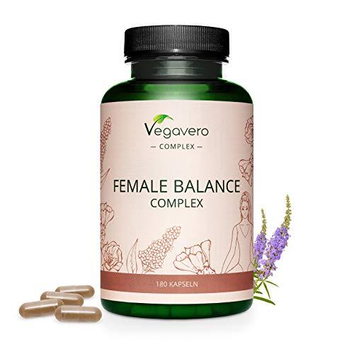 EQUILIBRIO FEMENINO Vegavero® |  Desequilibrio hormonal, amenorrea, PMS |  con árbol casto, alquimilla, bonita roja, ácido fólico, minerales y vitaminas |  180 cápsulas |  vegano