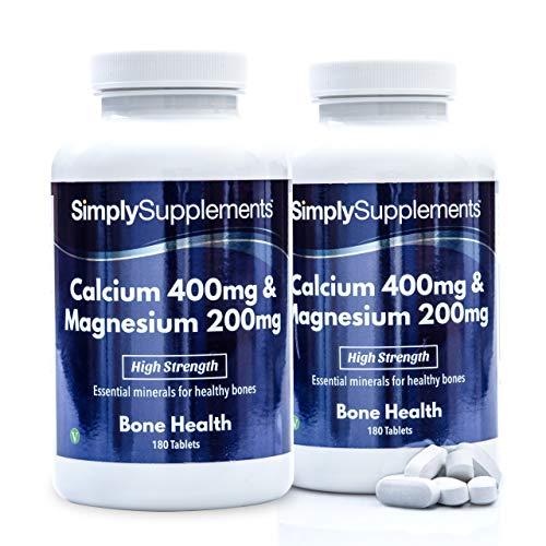 Calcio 400 mg y magnesio 200 mg - 360 comprimidos - Apto para veganos - 6 meses de tratamiento - SimplySupplements