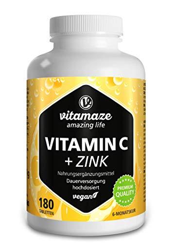 Vitamaze® Vitamina C pura 1000 mg Dosis alta + zinc, 180 comprimidos veganos durante 6 meses, dosis fuerte de vitamina C, calidad alemana, suplemento alimenticio natural ...