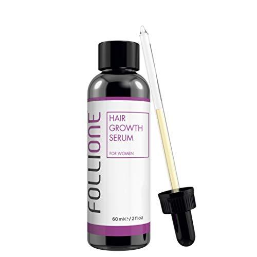 Suero para el crecimiento del cabello mujer Follione.  Probado dermatológicamente.  Tratamiento anti-caída y fácil de rebrotar el cabello para mujeres.  Suministro durante un mes.