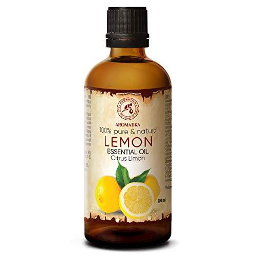 Aceite esencial de limón 100 ml - Aceite cítrico - España - 100% natural y puro - Buen sueño - Buen humor - Aromaterapia - Masajes - Cuidado de las uñas - Luces de aroma ...