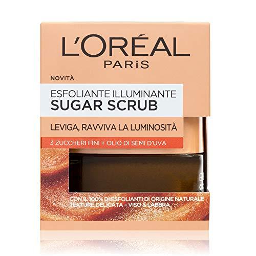 L'Oréal Paris Limpiador de azúcar limpiador Exfoliante para la cara y los labios con cristales de azúcar fino + aceite de semilla de uva, 50 ml