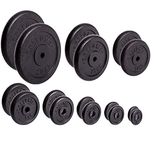 CP Sports placas de manitas de hierro fundido, 1 par, 2 pares de pesas de barra de 30 mm, 0,5 kg, 1 kg, 1,25 kg, 2,5 kg, 5 kg, 10 kg, placas de 15 kg , ...