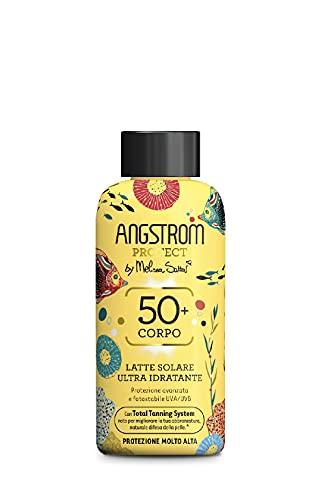Angstrom Protect Leche solar ultra hidratante, protector solar 50+ con acción nutritiva, mejora el bronceado natural, apto para pieles sensibles, 200 ml