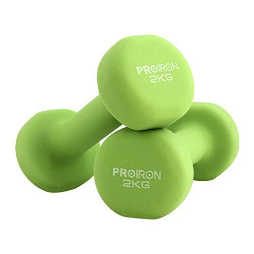 PROIRON Hombre Pesos para gimnasio Pesos para gimnasio y gimnasio Pesos para gimnasia (juego de 2) 1-10 kg (verde - 2 x 2KG)