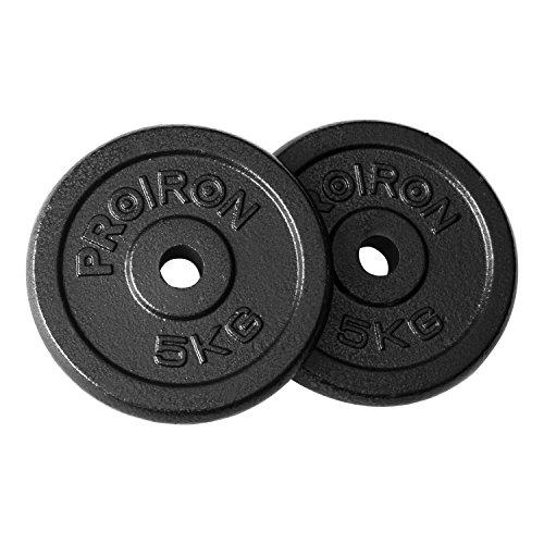 PROIRON Platos de peso Platos de hierro fundido peso de 1,25 kg, 2,5 kg, 5 kg, 10 kg Para mancuernas de 1 pulgada (5 kg * 2)