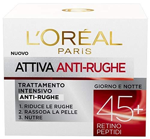 Crema facial antiarrugas L'Oréal Paris Active 45+, tratamiento intensivo antiarrugas, firme y nutre la piel, 50 ml, paquete de 1
