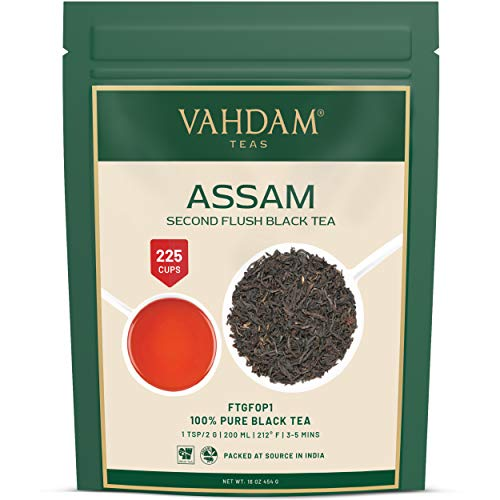 Hojas de té negro Assam (más de 200 tazas), FUERTE, MALTA Y RICO, té suelto, 100% puro sin mezclar, hoja negra suelta, té caliente, té helado, té Kombucha, ...