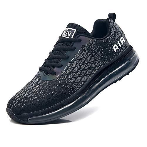 Zapatos deportivos Azooken Hombres, zapatos de correr, zapatillas de aire, zapatillas de deporte, zapatillas deportivas, exteriores, transpirables, ligeras, (8998-BK42)