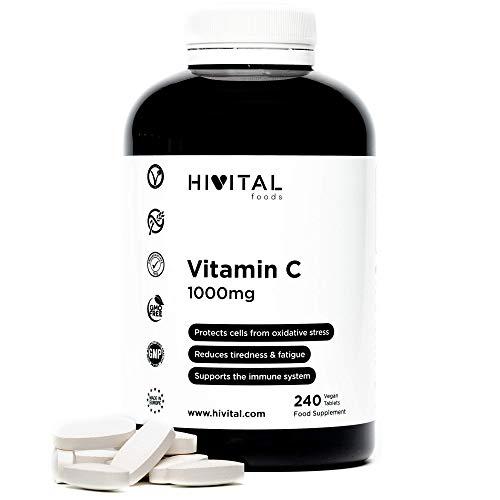 Vitamina C 1000 mg (ácido ascórbico)    240 comprimidos veganos, suministro de 8 meses    Reduce el cansancio y la fatiga, protegiendo las células del estrés oxidativo y ...