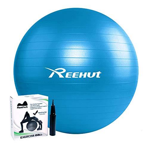 REEH, bola anti-explosión para ejercicio físico del tronco, con bomba y manual (idioma italiano no garantizado), para yoga, ejercicios de equilibrio, entrenamiento, ...