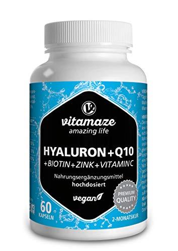 Ácido hialurónico de alta dosis puro + coenzima Q10, cápsulas veganas para un tratamiento de 2 meses, micromolècula de 500-700 kDa, calidad alemana, suplemento alimentario ...