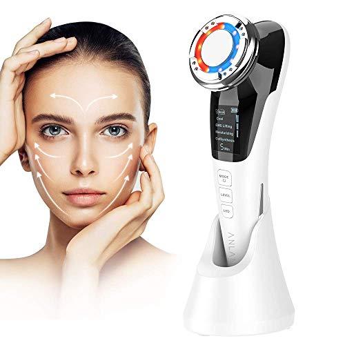 ANLAN Masaje eléctrico facial, dispositivo de belleza con EMS + frío / caliente + iónico + vibración + luz roja / azul para la eliminación de la cara ...