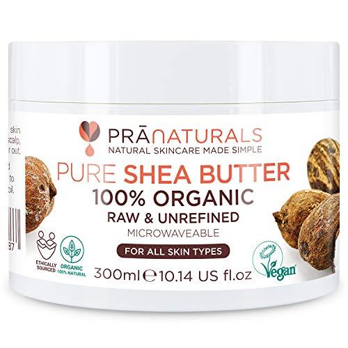 PraNaturals Manteca de karité 100% natural e hidratante 300 ml, para todo tipo de pieles, rica en vitaminas, cruda, pura y sin refinar