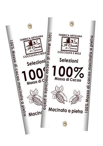 Siete de tabletas 100% MASA DE CACAO - 2 unidades de 95gr (190gr) - 100% de chocolate negro artesanal HECHO EN ITALIA - Il Casale Di Spanora