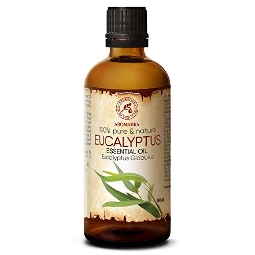 Aceite esencial de eucalipto 100 ml - Eucalyptus globulus - 100% natural y puro - Alivia la tensión - Buen estado de ánimo - Relajante - Se puede utilizar en difusores ...