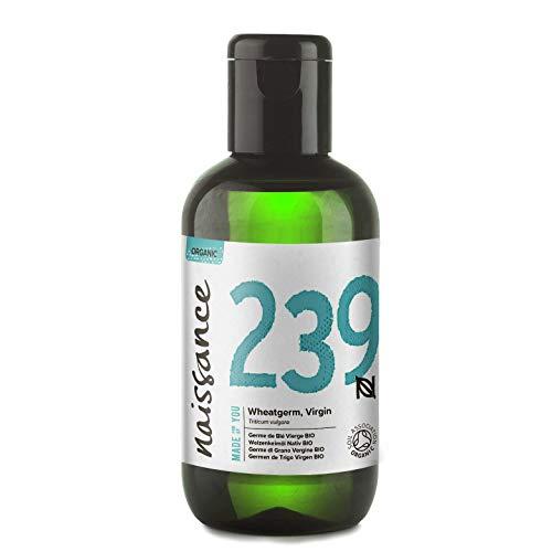 Aceite de germen de trigo virgen orgánico Naissance - 100 ml - puro, natural, orgánico certificado, prensado en frío, vegano y sin refinar, sin transgénicos y sin hexano