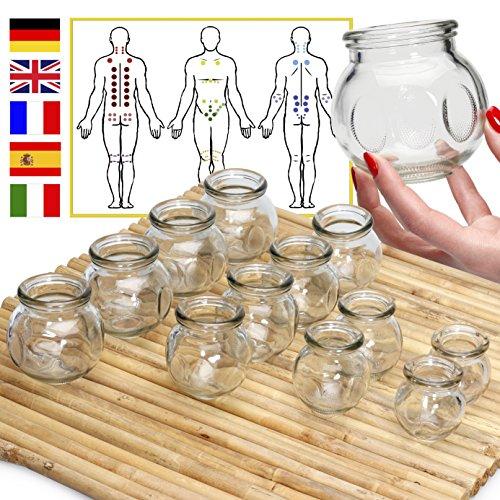 Lunati 12x Vasos de masaje (ventosas de fuego), ventosas anticelulíticas, ventosas de cristal, ventosas de masaje profesionales
