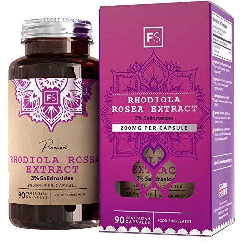 Suplemento de rodiola Rosea FS 400 mg por dosis |  90 cápsulas veganas |  Suplementos Nootropcium |  Rhodiola con alta dosis con 3% de salidrosids |  Sin transgénicos, alérgenos, ...