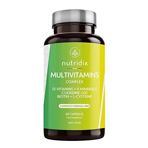 Multivitamínicos y minerales - Complejo multivitamínico vegano con 29 nutrientes esenciales con 13 vitaminas y 9 minerales - Energía, fatiga y defensas para hombres y mujeres ...