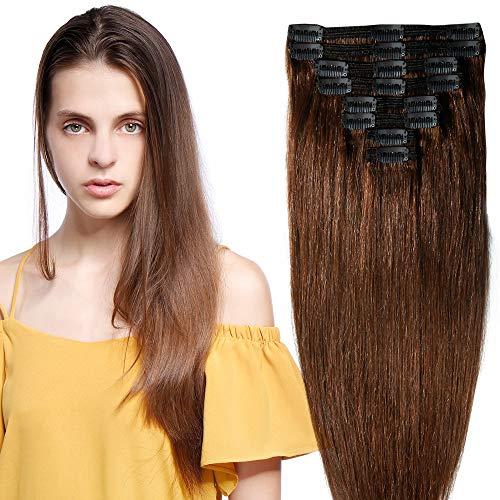 25-55cm 110g-160g Doble trama Clip de extensión de cabello real Cabo completo - 100% Remy Cabello humano Cabello humano (35cm-120g, 04 # Marrón chocolate)