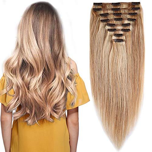 Clip de extensión de cabello Elailite volumizing Hair Real - 25cm 110g - 8 cintas de cabeza Grueso doble trama Ninguno completo 100% Remy Cabello humano recto, 18 / # 613 Beige Arena Rubia / Rubia ...
