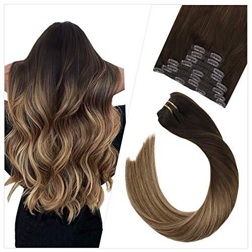 Extensión de cabello Ugeat 120-140 g con clip, cabello remy real, cabello liso de 35 cm, paquete de 10