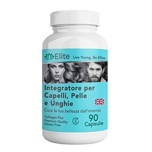 Completa el suplemento 4 en 1 para cabello, piel, uñas y articulaciones.  90 tapones.  Anti-arrugas y anti-pérdida de cabello, belleza para mujeres y hombres con ácido hialurónico, biotina, ...