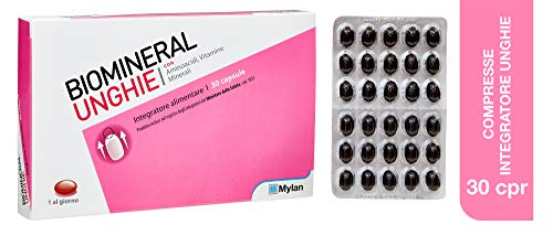 Suplemento alimenticio de fortalecimiento biominerales para uñas, 30 comprimidos - 40 gr