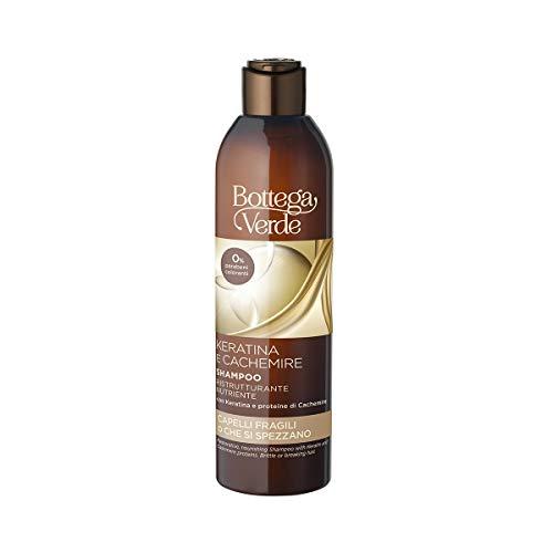 Bottega Verde, Keratina y Cachemira - Champú reestructurante nutritivo - con proteínas queratina y cachemir (250 ml) - cabello frágil o roto